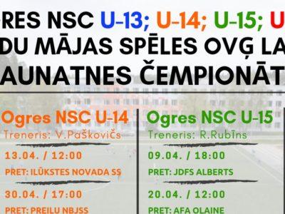Ogres NSC futbola komandu mājas spēļu grafiks