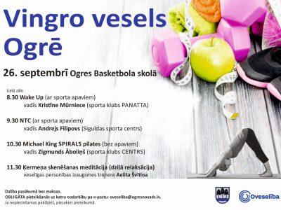 """Oveselība 26.septembrī aicina uz pasākumu """"Vingro vesels Ogrē!"""